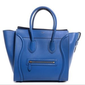 CELINE Calfskin Mini Luggage Bag in Electric Blue